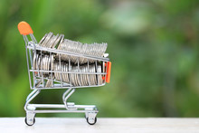 Finance, Stack Of Gold Coins Money In Mini Shopping Cart On Natural Green Background, Business Investment Growth And Save Money For Prepare In Future Concept