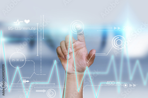 Valokuva  hand touching icon medical network on virtual screen interface