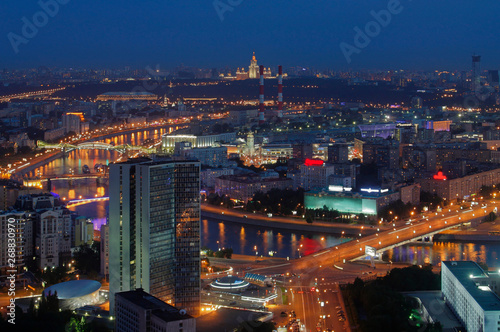 The view from the height of the center of the capital of Moscow, at night