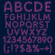 Alphabet, Letters, Numbers And Signs Of Pink Stars And Dots, Constellations. Set Of Isolated Vector Objects On Blue Background.