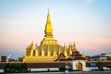Pha That Luang, 'Great Stupa' Is A Gold-covered Large Buddhist Stupa In The Centre Of Vientiane, Laos. It Is Generally Regarded As The Most Important National Monument In Laos