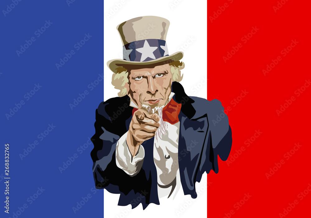 Fototapeta Concept du protectionnisme et de la guerre économique mondiale avec le portrait de l'Oncle Sam devant le drapeau français, désignant d'un air menaçant, les pratiques commerciales de la France.