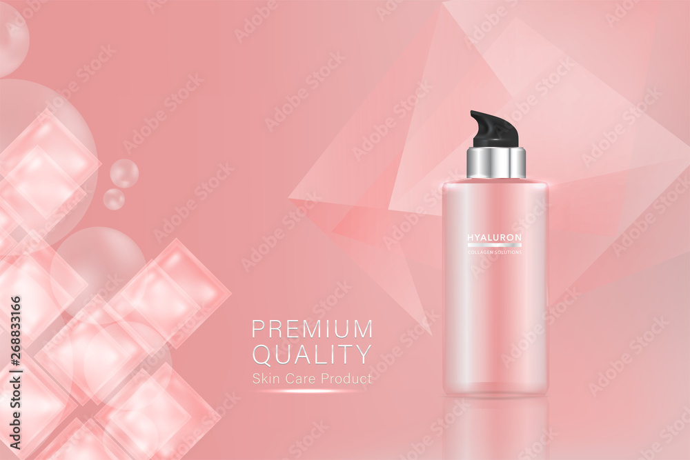 Fototapeta Beauty product, pink cosmetic container with advertising background ready to use, luxury skin care ad, illustration vector.