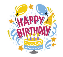 Happy Birthday To You. Hand Drawn Typography