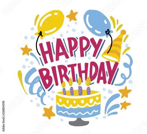 Photo Happy Birthday to you. Hand drawn typography