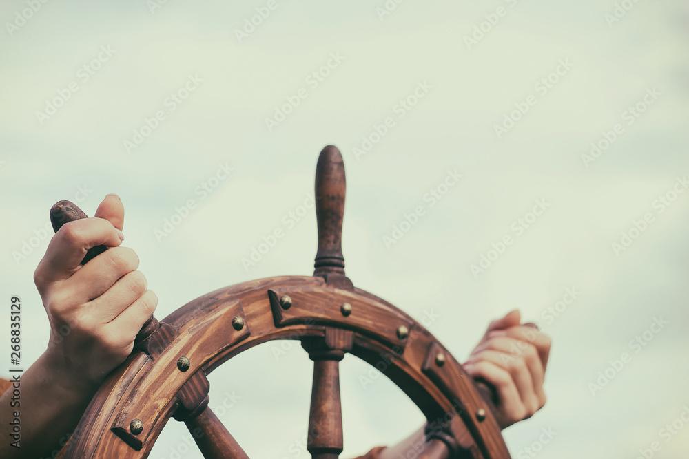 Fototapety, obrazy: Steering hand wheel ship on sky background