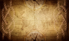 Ancient Vintage Adventure Background. Retro Style. Science, Education, Travel, Vintage Background. History And Geography Team.