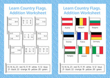 Learn Country Flags. Addition Worksheet. Educational Game. Mathematical Puzzle. Vector Illustration.