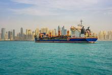 Oil Tanker Ship Leaving The Dubai Marina