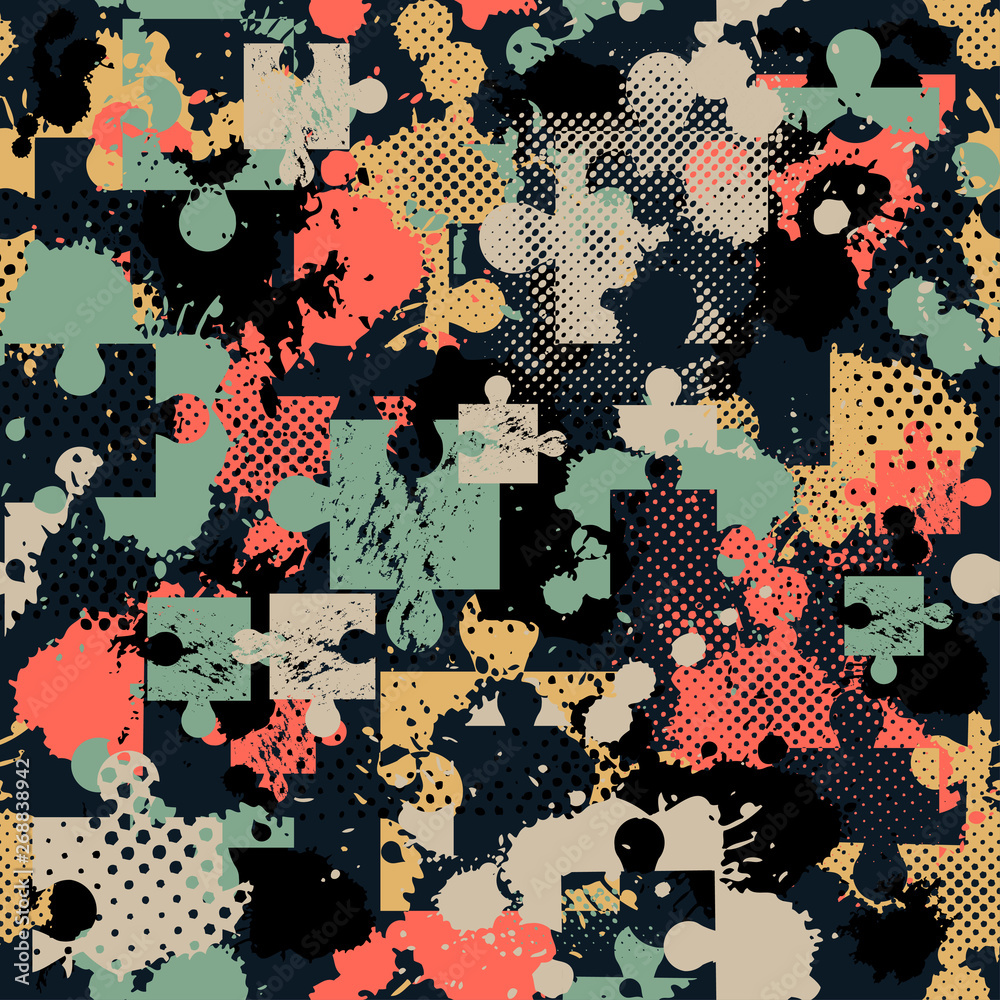 Abstract seamless puzzle pattern for girls, boys. Creative vector pattern with puzzle, square, splash, dots. Funny puzzle wallpaper for textile and fabric. Fashion sport style. Colorful bright.