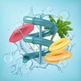 Fototapeta Fototapety przestrzenne i panoramiczne - Realistic illustration of 3d screw slides realistic waterpark pool aquapark aqua park splash beach umbrella bubbles and lifebuoy palm Vector EPS 10