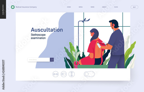 Photo Medical tests template - auscultation - modern flat vector concept digital illus