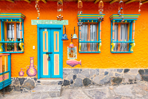 Raquira typical traditional  house Colombia Canvas Print