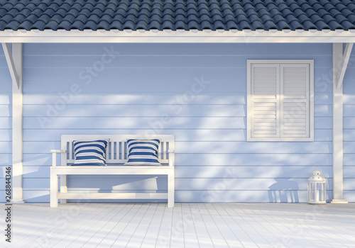 Foto  Empty exterior wall 3d render,There are blue wood plank wall, white window and poles ,Decorate with white bench,Sunlight shining to the wall with tree shadow