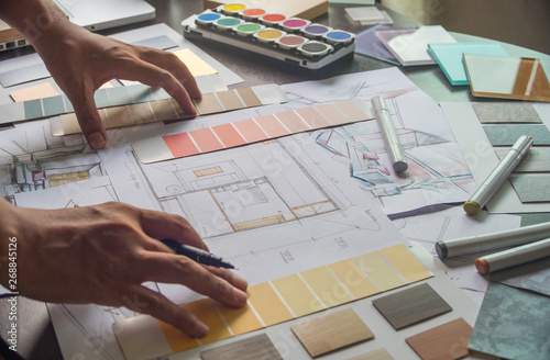 Architect designer Interior creative working hand drawing sketch plan blue print Wallpaper Mural
