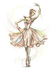 Panel Szklany Taniec / Balet Graceful, beautiful dancing ballerina in gentle tones