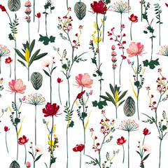 Fototapeta Kwiaty Blooming Botanical flowers soft and gentle seamless pattern on vector repeat design for fashion,fabric,wallpaper and all prints