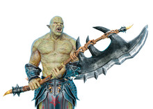 Green Orc Holding A Huge Axe I...