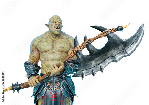 Fotografía  green orc holding a huge axe in a white background side view