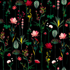 Panel Szklany Ogrody Dark night Blooming Botanical flowers soft and gentle seamless pattern on vector repeat design for fashion,fabric,wallpaper and all prints