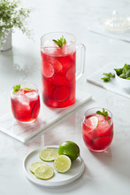 Jamaican Water With Lime, Hibiscus And Mint.