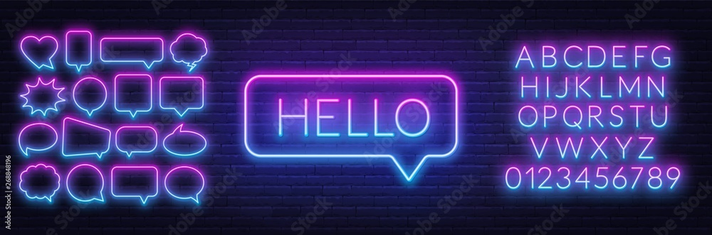 Fototapety, obrazy: Neon sign of word hello in speech bubble frame on dark background.Set of neon speech bubbles and the alphabet on a dark background. Template for design.
