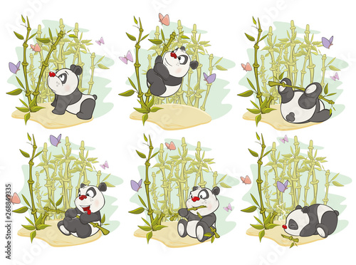 Fun Animal Comics. Vector Illustration of a set of Funny Panda Bear