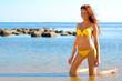 Beautiful young woman in yellow bikini