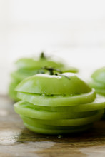 Sliced Stack Of Green Tomatoes