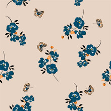 Seamless Pattern On Vector  Vintage Pansy Flowers  With Butterflies Soft And Gentle  Design For Fashion,fabric,wallpaper And All Prints