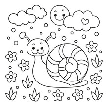 Coloring Page For Kids With Sn...