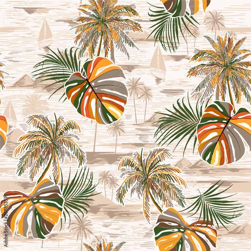 vintage-bezszwowe-dlon-opuszcza-wzor-wyspy-na-monotonia-krajobraz-z-palmami-plaza-i-ocean-wektor-recznie-rysowane-styl