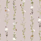 Retro pasiasty pionowego rzędu ogródu kwiatu botaniczny bezszwowy wzór w wektorowym stylowym ilustracyjnym projekcie dla mody, tkaniny, sieci, tapety i wszystkie druków - 268853941