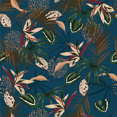 FototapetaSeamless pattern vector Dark Tropical jungle and colorful palm leaves, exotic palnts with animal skin floral design for fashion,fabric,web,wallpaper,and all prints