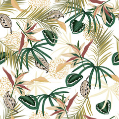 Fototapeta Las Vector seamless tropical pattern, exotic tropic foliage, with forest plants ,monstera leaf, palm leaves, animal skin, flower, modern bright summer print design