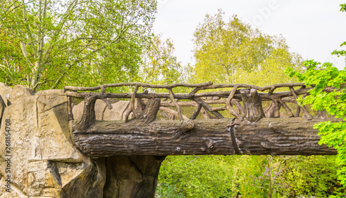 Photo Stands Fantasy Landscape beautiful hand crafted wooden bridge made out of tree trunks and branches, fairytale scenery, garden architecture, nature background