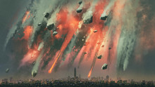 Sci-fi Scene Of The Meteorites Explodes In The Sky Above The City, Digital Art Style, Illustration Painting