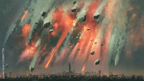 Poster Fumee sci-fi scene of the meteorites explodes in the sky above the city, digital art style, illustration painting