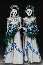 Halloween Collage Of Two Bridesmaids With Skulls.