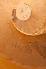 Golden Spiral Staircase In The Old Tower