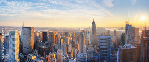 Panoramic view of Empire State Building and Manhatten at sunset. New York city. New York. USA
