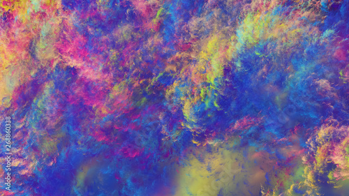 Poster Rose Abstract fantastic blue and crimson clouds. Colorful fractal background. Digital art. 3d rendering.
