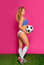 Beautiful Young Girl Soccer Pl...