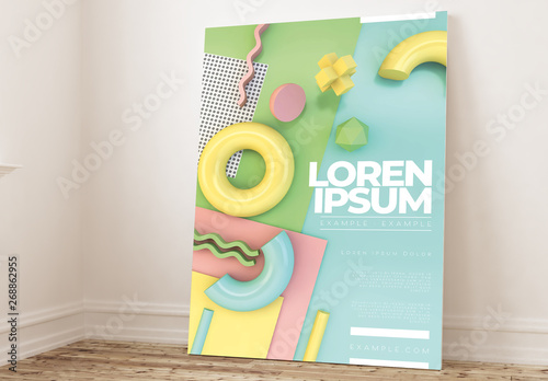 Pastel Poster Layout with 3D Geometric Shapes  Buy this