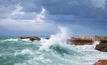Coastal Landscape With Big Waves