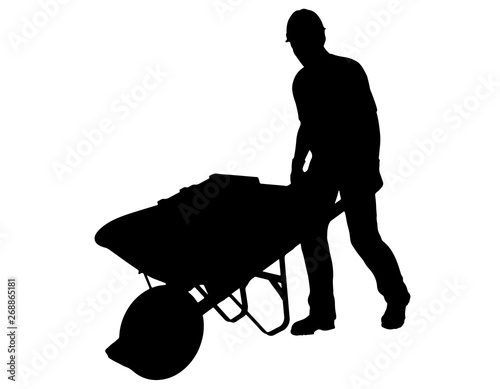 Fotografia Construction Worker Pushing Wheelbarrow
