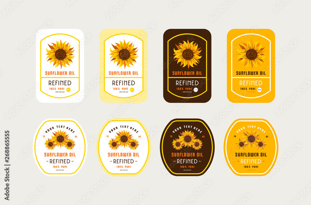 Fototapety, obrazy: Set of templates label for sunflower oil