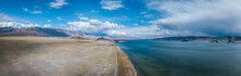 Aerial Panorama View Of Mongolia Landscape With Steppe, Mountain And A Beautiful Blue Lake