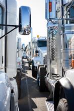 Truck Fleet In Parking Lot.