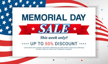 Memorial Day Sale On USA Flag Background Vector Illustration.
